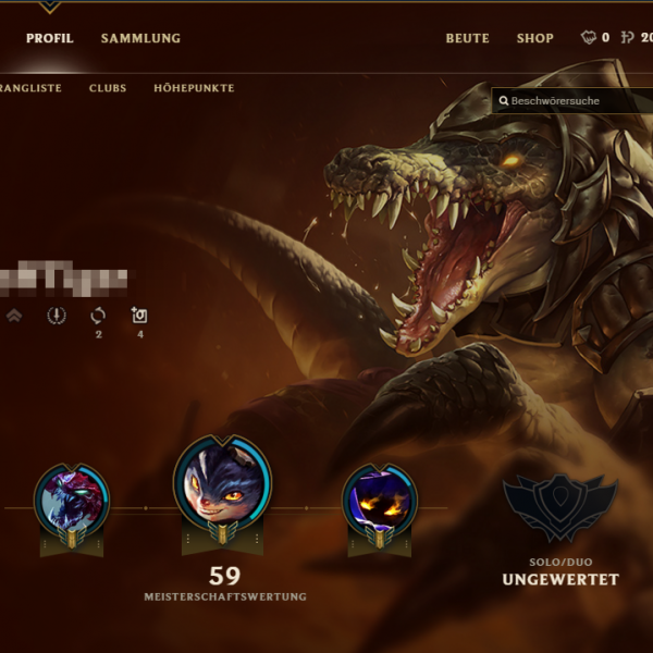 Smurf LoL Account - Profil 20K