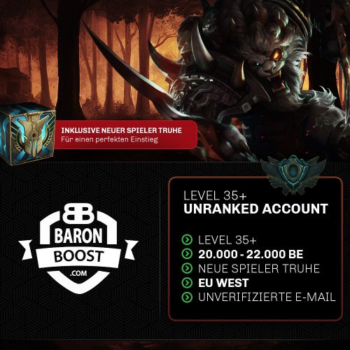 unranked euw lol account kaufen 20.000 BE