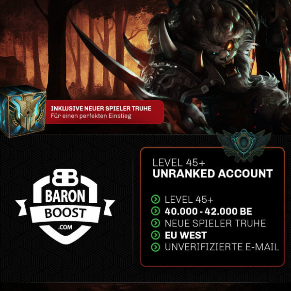 unranked euw lol account kaufen 40.000 BE